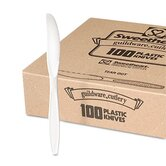 Guildware Heavyweight Plastic Knives, White, 10 Boxes of 100