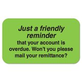Medical Labels, Friendly Reminder, 1-1/2 x 7/8, Fluor Green, 250/Roll