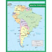South America Map Chart 17x22
