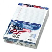 American Pride Writing Pad, Jr. Legal Rule, 8-1/2 x 11-3/4, White, 50-Sheet, 12 Pack