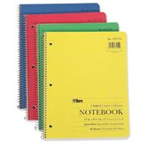 "Notebook, Quad Ruled, 3-Hole Punch, 80 Sheets, 11""x8-1/2"", White"