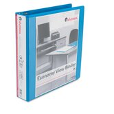 Economy D-Ring Vinyl View Binder, 1-1/2in Capacity, Light Blue