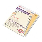 Gold Pro Insertable Tab Index, 5-Tab, Letter, Buff Sheets