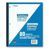 Wireless Neatbook, 1-Sub, Quad Rule, 11&quot;x8-1/2&quot;, 80 Sheets, White