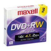 DVD+RW Discs, 4.7GB, 4x, with Jewel Cases, Silver, Three/Pack
