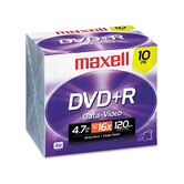 DVD+R Discs, 4.7GB, 16x, with Jewel Cases, Silver, 10/Pack