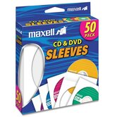 CD/DVD Sleeves, Clear Window, 50 per Pack, White