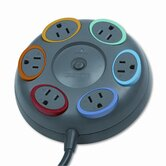 SmartSockets Color-Coded Tbltop Surge Protector, 6 Outlets, 16ft Cord