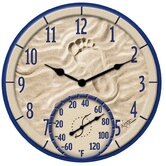 "By The Sea Clock with 14"" Thermometer"