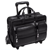 "P Series Clinton Leather 17"" Detachable - Wheeled Laptop Case in Black"