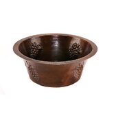 16&quot; Round Copper Bar Sink with Grapes in Oil Rubbed Bronze