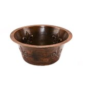 16&quot; Round Copper Bar Sink with Fleur De Lis in Oil Rubbed Bronze