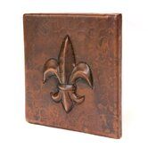 4&quot; x 4&quot; Copper Fleur De Lis Tile in Oil Rubbed Bronze