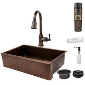 Hammered Apron Single Basin Kitchen Sink with ORB Pull Down Faucet, Drain and Accessories