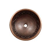 Vine Design Topmount Round Copper Vessel Sink