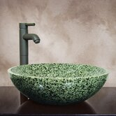 Devon 6&quot; x 16&quot; Hand Carved Round Vessel Sink in Green