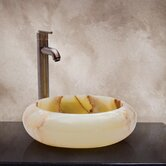 Raeann Hand Carved Round Vessel Sink in Green Multicolor