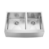33&quot; Stainless Steel Double Bowl Farmhouse Kitchen Sink Set