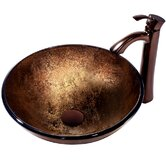 Liquid Copper Glass Vessel Sink and Bronze Faucet Set