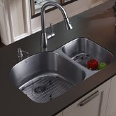 Double Bowl Stainless Steel Undermount Kitchen Sink and Faucet Set