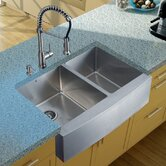 Stainless Steel Double Farmhouse Kitchen Sink and Faucet Set