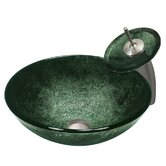 Emerald and Black Tempered Glass Vessel Sink with Matching Waterfall Faucet