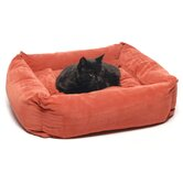 Microfiber Square Pet Bed in Earth Red