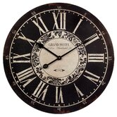Grand Hotel Wall Clock in Black/White