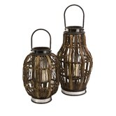 Saeran Rattan Candle Hurricane Lantern (Set of 2)