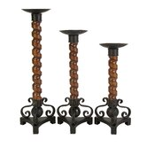 CK Wallace Wood Candlestick (Set of 3)