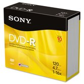 DVD-R Discs, 4.7GB, 16x, 10/Pack
