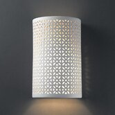 Ambiance Open Top and Bottom Small Cylinder Outdoor Wall Sconce with Floral Design