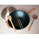 "5 Piece 14"" Preseasoned Flat Bottom Wok Set"