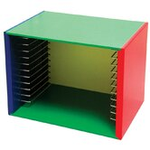 Painted Wood Puzzle Storage Box Unit