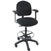 Mid-Back Tall Industrial Office Chair with Fix Arm and Adjustable Footring