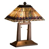 Tiffany Jeweled Peacock Oblong Desk Lamp