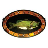 Lodge Tiffany Nautical Animals Recreation Bass Plaque Stained Glass Window