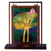 Floral Tiffany Pond Lily Lighted Mini Tabletop Window