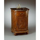 Carved One Door Vanity in Medium Brown