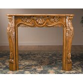 Fireplace Surround with Carved Design in Medium Brown