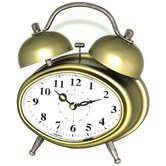 Oval Double Bell Melody Alarm Clock in Glossy Golden