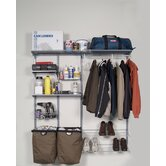Storability 66 In. L x 63 In. H Garment Wall Mount Storage System with (2) Shop/Rag Bags, Boot Rack, (2) Wire Shelves, (2) Wire Baskets, (2) Steel Shelves & Hardware