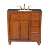 "Mary 36"" Bathroom Vanity in Chocolate Brown with Granite Top"