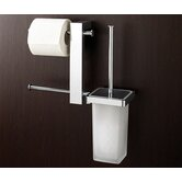 Bridge Wall Mounted Bathroom Butler with Double Toilet Paper Holder and Toilet Brush in Chrome