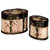 Oval Snakeskin Hatbox (Set of 2)