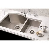 "Vintage 34"" x 19.5"" Undermount Stainless Steel Double Bowl Kitchen Sink"