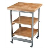 All Purpose Folding Kitchen Cart with Wood Top