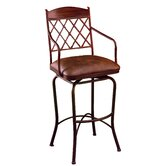 Napa Ridge Rust 30&quot; Swivel Bar Stool w/ Arms in Coffee Fabric