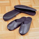 Black Cowhide Nappa Leather Travel Slippers with Case