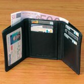 Black Cowhide Nappa Supple Leather Tri Fold Wallet